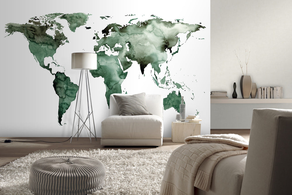 World Map Wallpaper Mural in Watercolour effect, Green, White & Black