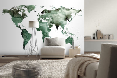 World Map Wallpaper Mural in Watercolour effect, Green, White & Black - Your 4 Walls