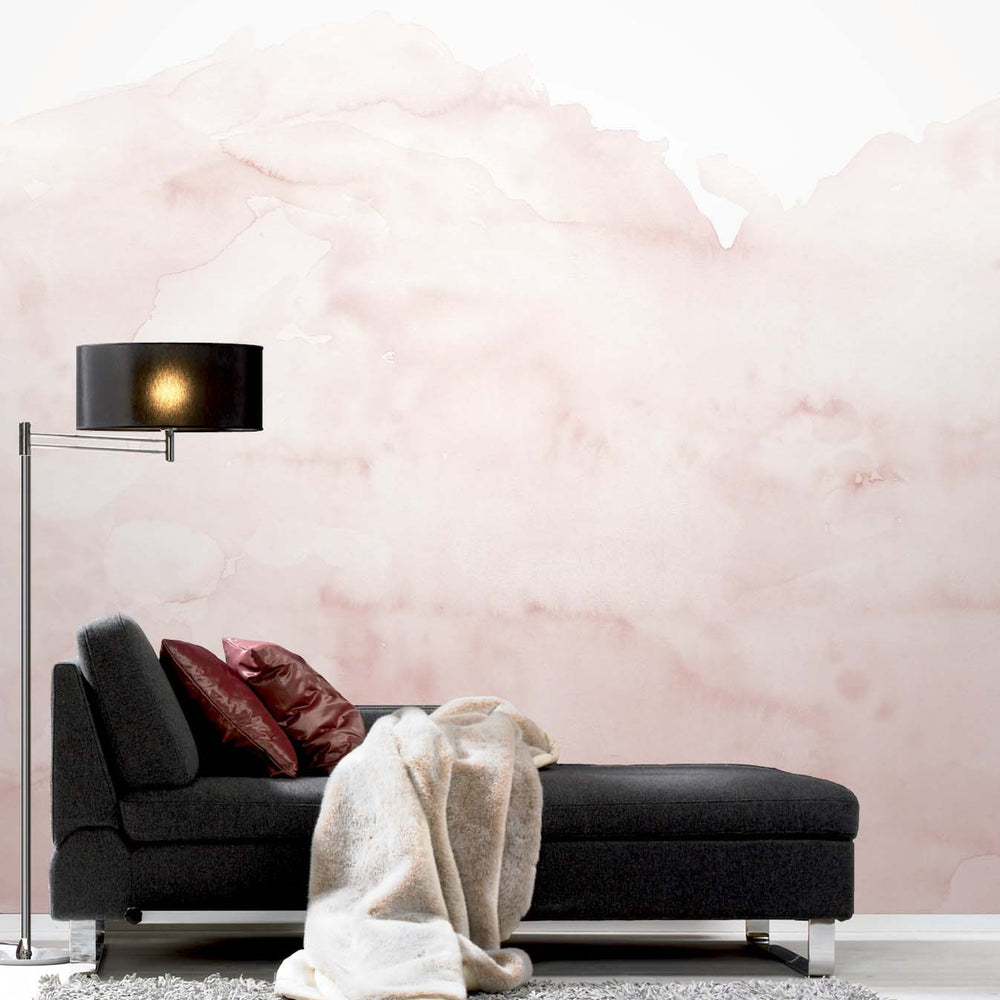 Watercolour Effect Wallpaper Mural in Pink - Your 4 Walls