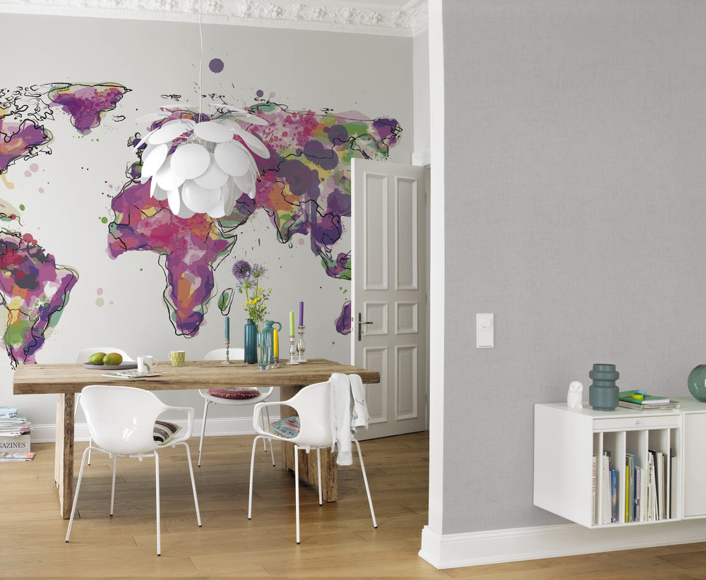 Pop Art World Map Wallpaper Mural in Purple, Green, Pink & Yellow - Your 4 Walls