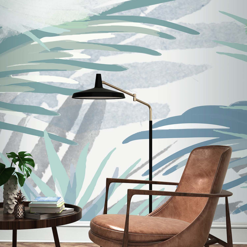 Painted Palm effect Wallpaper Mural in Blue, Green & White - Your 4 Walls