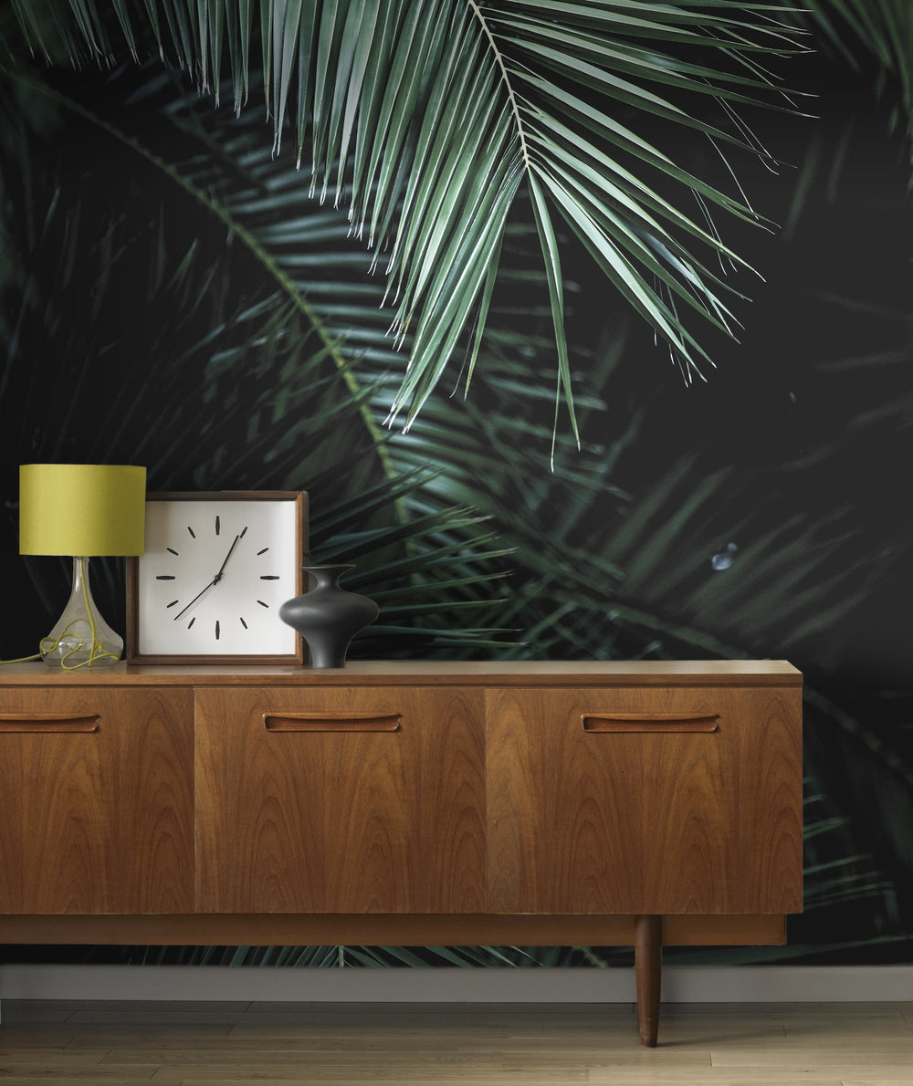Palm Leaf Wallpaper Mural in Black & Green - Your 4 Walls