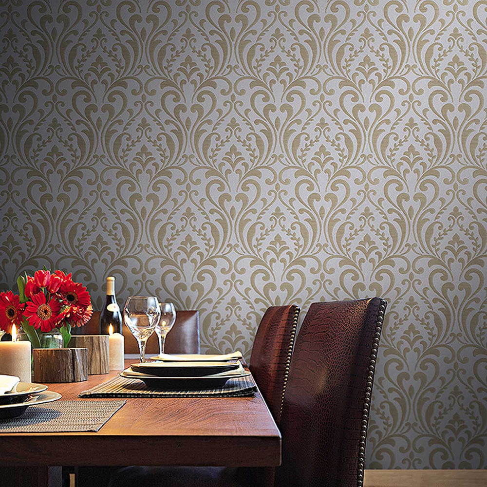 Luxe Italian Heavy Weight Damask Wallpaper| Grey & Charcoal - Your 4 Walls