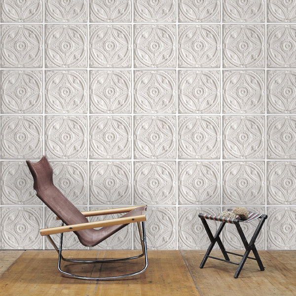 Exclusive 39 29th street 39 brooklyn tin tile effect wallpaper grey of your 4 walls - American tin tiles wallpaper ...