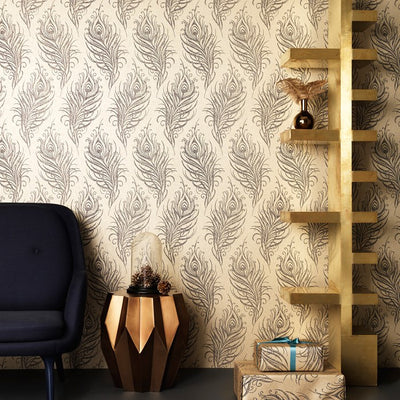 Last Roll Metallic Gold & Black / Blue peacock feather Wallpaper - Your 4 Walls