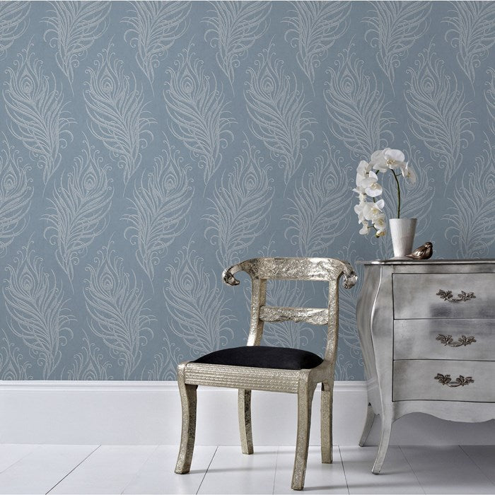 Last Roll Matt Blue and Metallic Silver Peacock Feather Wallpaper - Your 4 Walls