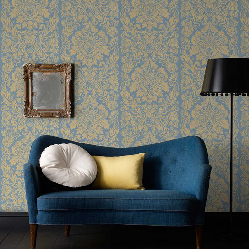 SALE 2 x Rolls Metallic Gloriana Damask Wallpaper | Gold & Blue - Your 4 Walls