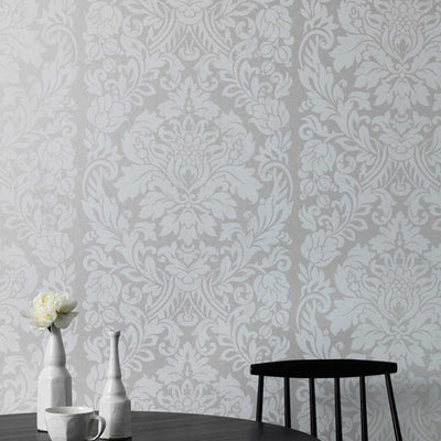 SALE 2 x Rolls Metallic Gloriana Damask Wallpaper | Pearl - Your 4 Walls