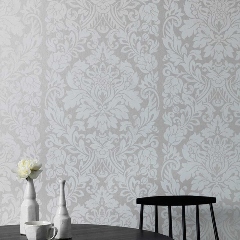 Metallic Gloriana Damask Wallpaper | Pearl SALE 2 x Rolls for £20 - Your 4 Walls