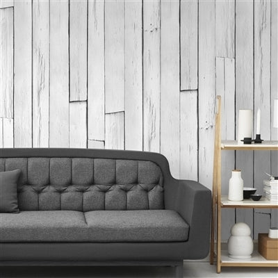 Plank Wood Panel Effect Faux Wallpaper |White