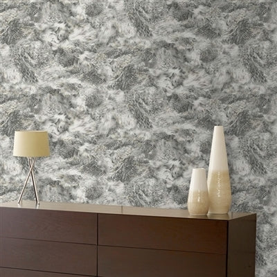 Fur Effect Wallpaper | Grey & White - Your 4 Walls