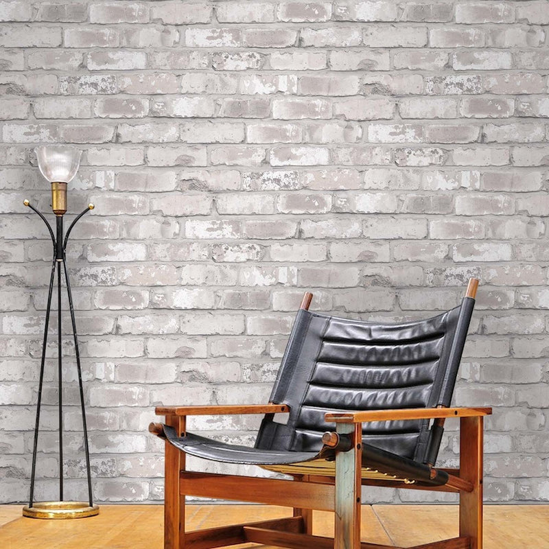 Irwell Brick Effect Wallpaper | White/Grey & Cream - Your 4 Walls