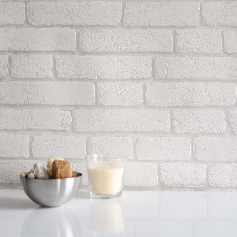 Koziel Brick White and Grey, Textured Brick Effect Wallpaper - Your 4 Walls