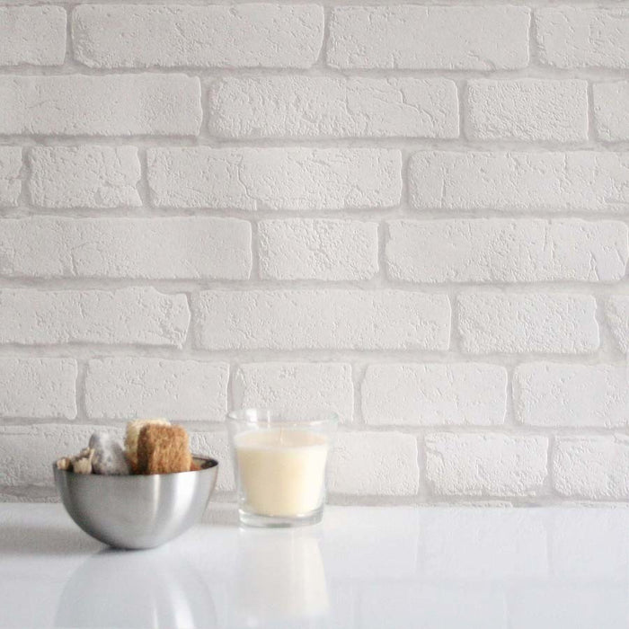 Fantastic Koziel Brick WallpaperThis product is a blown vinyl brick wallpaper in white.This Brick wallpaper is a paste the wallpaper product, and is washable.h:10.05m x w:53cmPattern Repeat 53cm Straight Match