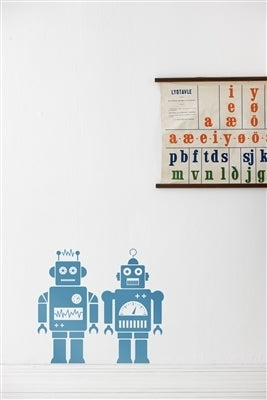 Robots Wall Sticker | Light Blue