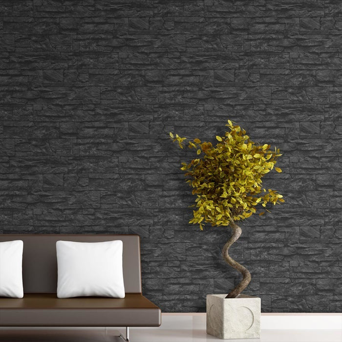 Stoned Effect Textured Wallpaper | Charcoal/Black
