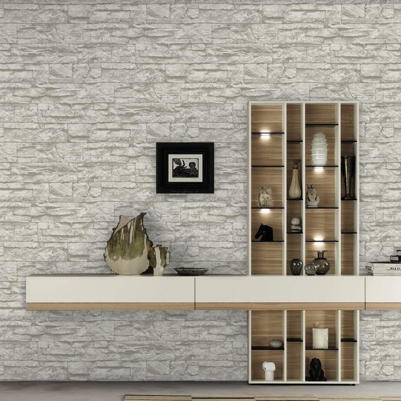 Stoned Effect Textured Wallpaper | Grey