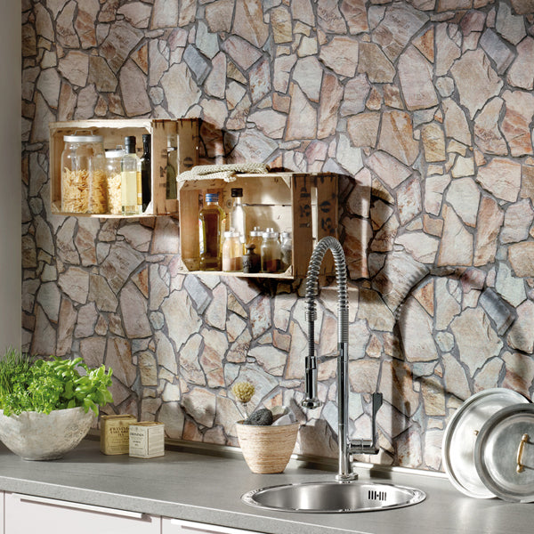 Stone Mosaic Brick Wallpaper | Grey Beige - Your 4 Walls