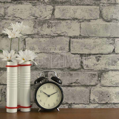 Urban Brick Wallpaper in White & Silver / Grey