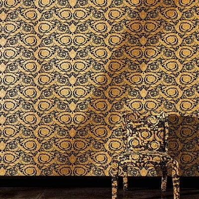 VERSACE - Floral Scroll'Versace' Designer Floral Scroll Motif wallpaper!Stunning textured background behind a beautiful black Satin scroll.The detailing on this paper is unbelievable.The scrolls are a two toned satin effectset in a heavy stone like textured background.What more can we say but 'Beautiful'!Width 70cm x Length 10m