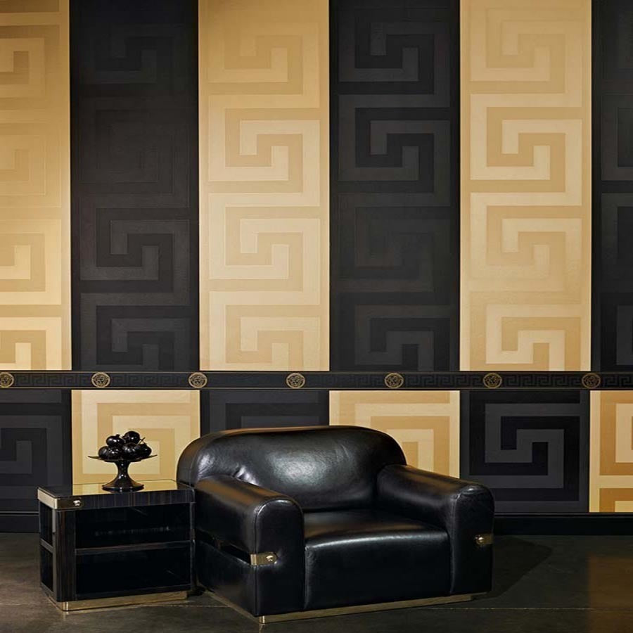 VERSACE - GREEK KEY IN BLACK'Versace' Designer Black satin feel wallpaper Motif Wallpaper!Clear, straightforward meander (