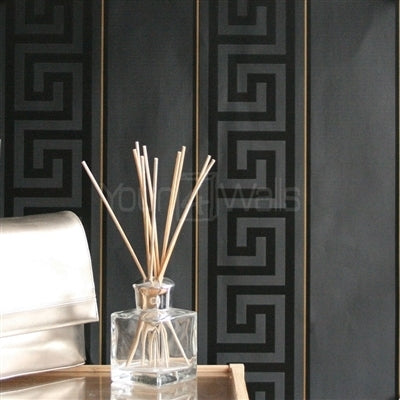 VERSACE - GREEK KEY STRIPE'Versace' Designer Black Stripe satin feel wallpaper Motif Wallpaper!Clear, straightforward meander (