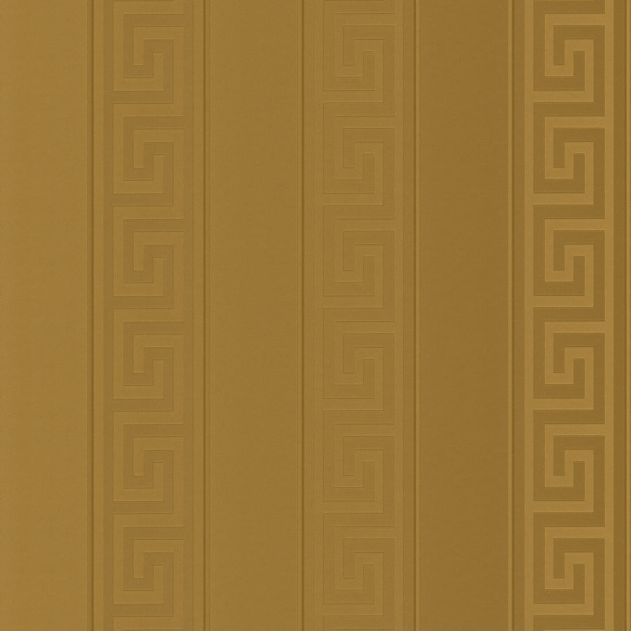"VERSACE - GREEK KEY STRIPE'Versace' Designer Gold Stripe satin feel wallpaper Motif Wallpaper!Clear, straightforward meander (""Greek Key"") at Versace embody the masculine principle. In large format, the restrained tone-on-tone patterns of satin wallpapers unfold in shades of gold, silver, jet black and cream is a great, extravagant expression.Width 70cm x Length 10m"