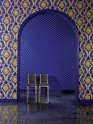 VERSACE - Stripe'Versace' Designer Blue striped wallpaper!Stunning Royal Blue and Nave Blue stripes. The detailing on this paper is unbelievable.The Royal Blue stripes are a two toned satin effectand the Nave Blue is baby crocodile skin effect.What more can we say but 'Beautiful'!ROOMSET IMAGE MAY NOT MATCH COLOUR OF PRODUCT - IT IS USED TO SEE FULL PATTERN.LARGER THAN STANDARD ROLLS : Width 70cm x Length 10m