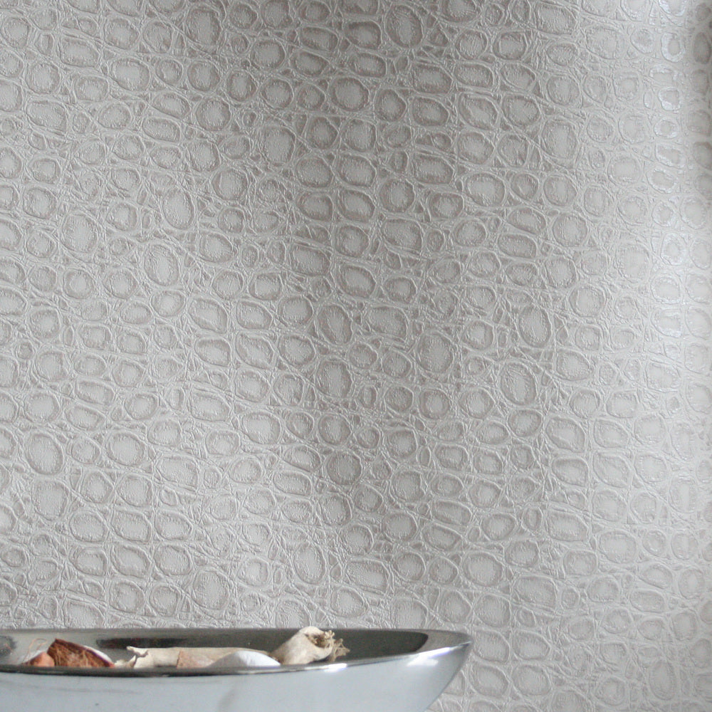 Alligator Skin Effect Wallpaper | Taupe & Shimmer - Your 4 Walls