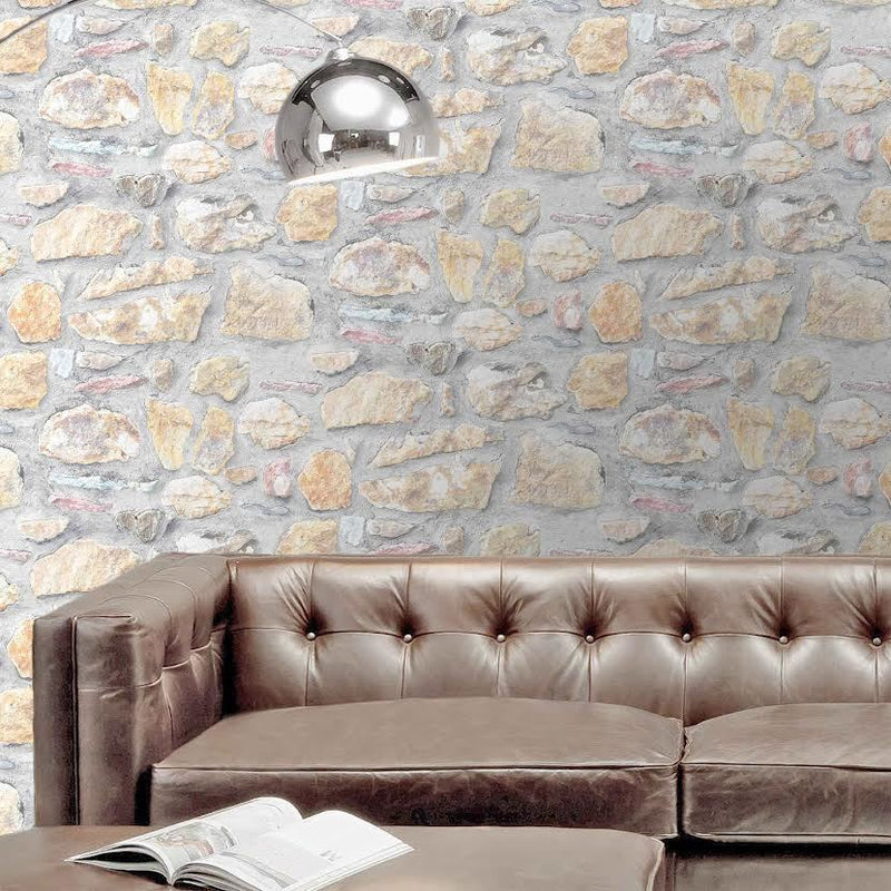 Benllech Stone Effect Wallpaper in Brown/Grey Multi Coloured - Your 4 Walls