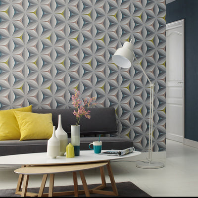 Illusion Geometric Wallpaper in Grey, Yellow, Pink & Teal - Your 4 Walls
