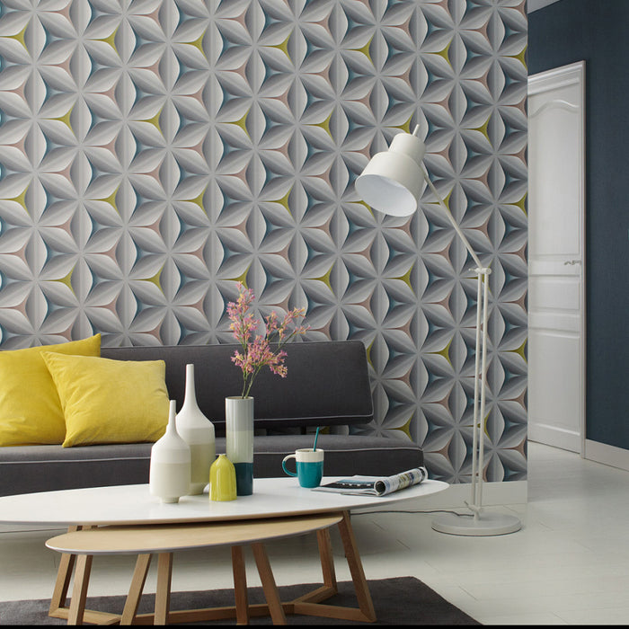 Illusion Geometric Wallpaper | Grey, Yellow, Pink & Teal - Your 4 Walls