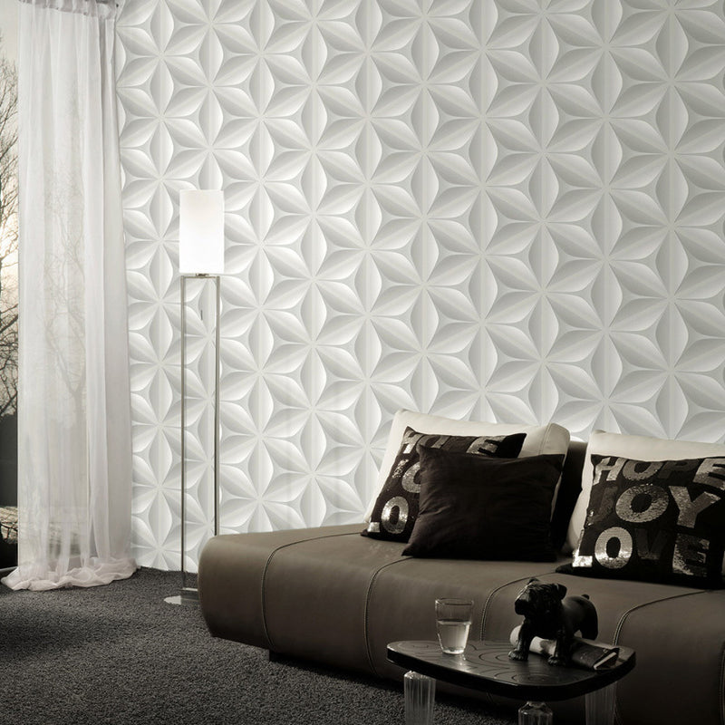 Illusion Geometric Wallpaper in Grey & White - Your 4 Walls