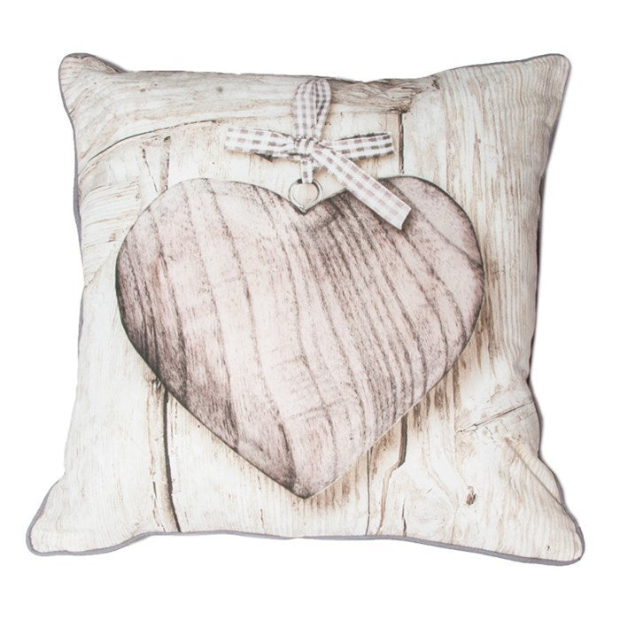 Wood & Hearts | Cushion in Beige