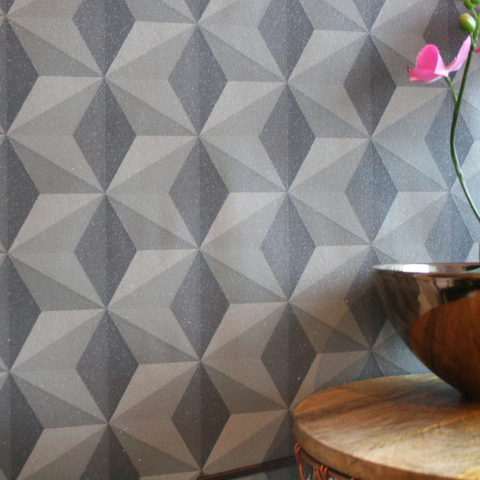 Cuboid Geometric Wallpaper | Charcoal, Grey & Glitter - Your 4 Walls