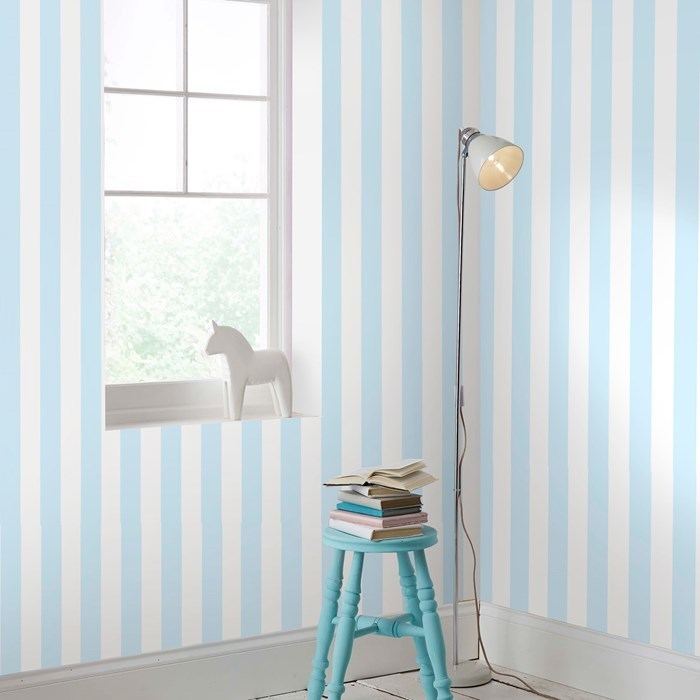 Absolutely stunning Pastel Blue & White Stripe wallpaper