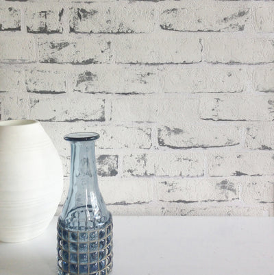 White Painted Reclaimed Brick Effect Wallpaper | White & Grey