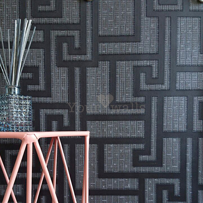 Versace 'Parvus Greek Key' Designer textured Geometric Wallpaper in Black - Your 4 Walls