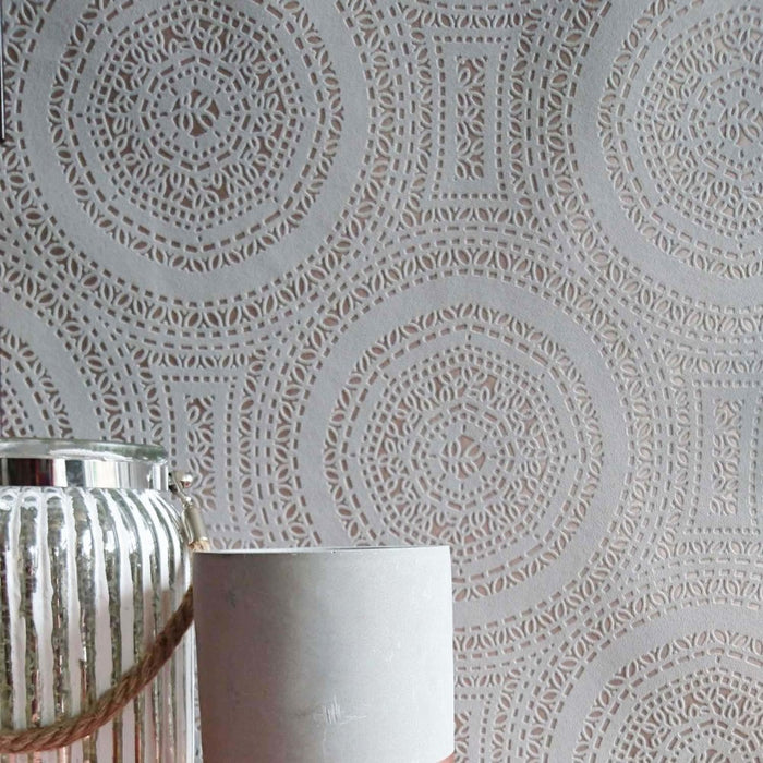 Doily' Lace effect Wallpaper| Grey & Rose GoldThis stunning high quality wallpaper is printed on a metallic rose gold paper. The 'lace design' is embossed and almost feels like material. This adds yet more value to this stunning, on trend fabulous addition to your home! If you are looking to add a luxurious, contemporary yet timeless finish to your home, Lace wallpaper is a must have!ROOMSET IMAGE - NOT ACTUAL COLOUR, JUST TO SHOW LARGER PATTERNLength 10m Width 0.53m