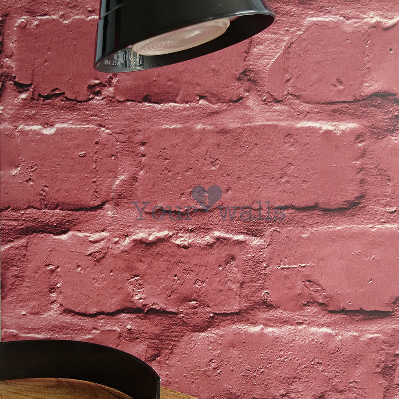 Loft Brickhouse Brick Effect Wallpaper in Red (2 x rolls for £15) - Your 4 Walls