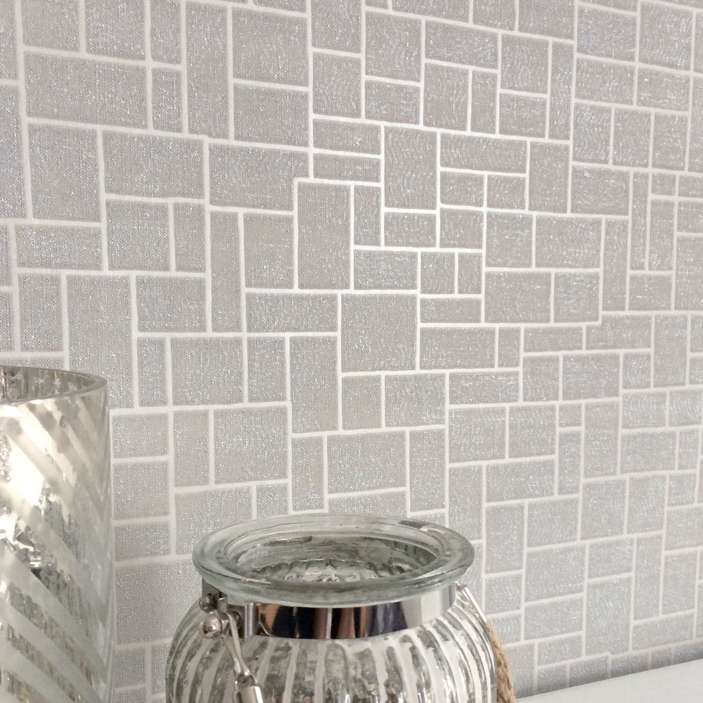 SALE Opulent Tile | Silver, Grey & Metallic Geometric Tile Wallpaper - Your 4 Walls