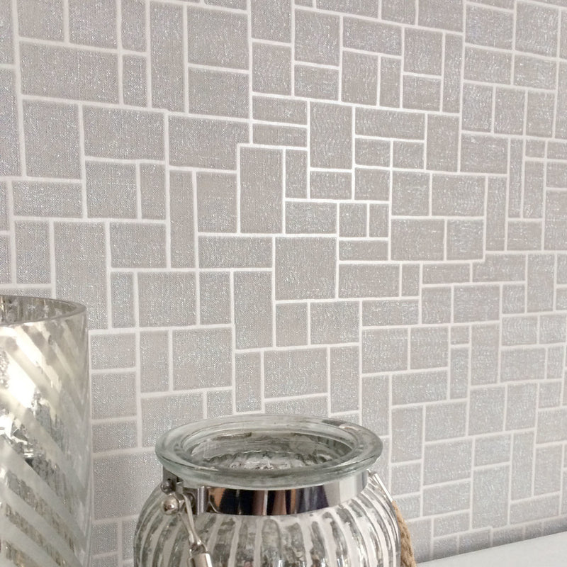 SALE Opulent Tile | Silver, Grey & Metallic Geometric Tile Wallpaper (2 x rolls for 1 set amount) - Your 4 Walls