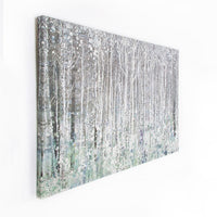 Watercolour Woods | Printed Canvas Natural & Silver metallics
