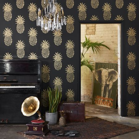 Tobago Pineapple Motif Wallpaper Clarke and Clarke | Charcoal & Metallic Gold - Your 4 Walls