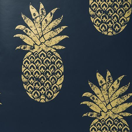 Tobago |Indigo Blue & Metallic GoldThis stunning high quality wallpaper is surface printed which means the paper retains a more hand finished quality feel.The pineapples have a metallic mottled effect  which adds yet more value to the paper. If you are looking to add a high quality, luxurious, contemporary yet timeless finish to your home, Tobago wallpaper is a must have!This paper is a paste the wall product.Length 10m Width 0.52mStraight Match Pattern Repeat: 53cm