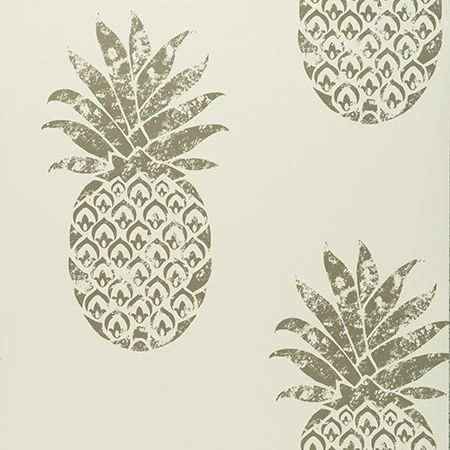 Tobago Pineapple Motif Designer Wallpaper Clarke and Clarke | White & Silver/Gold - Your 4 Walls