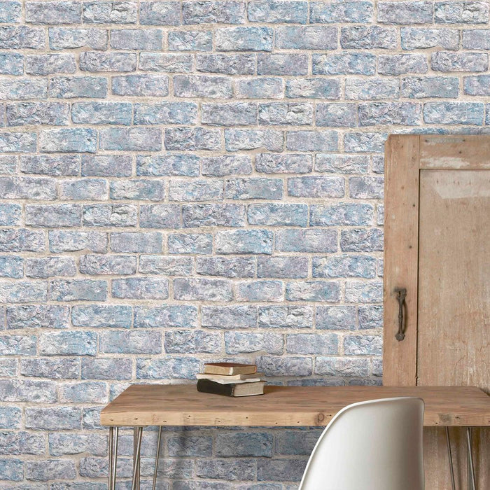 Dulas Brick Effect Wallpaper | Blue