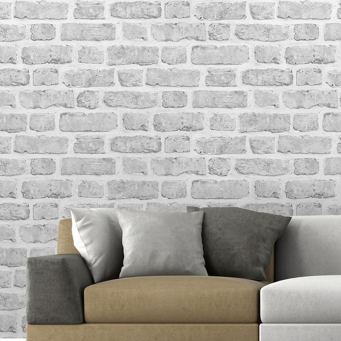 Palace St Brick Effect Wallpaper | Grey Hues & Light Grey