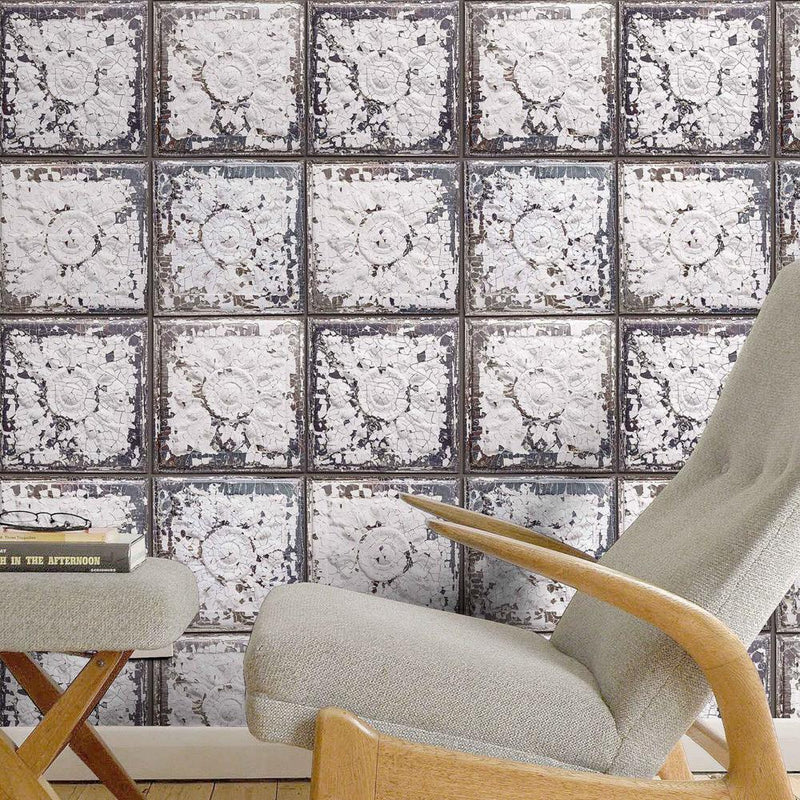 Exclusive 'Spring St' Brooklyn Tin Tile Effect Wallpaper | Off White & Grey - Your 4 Walls