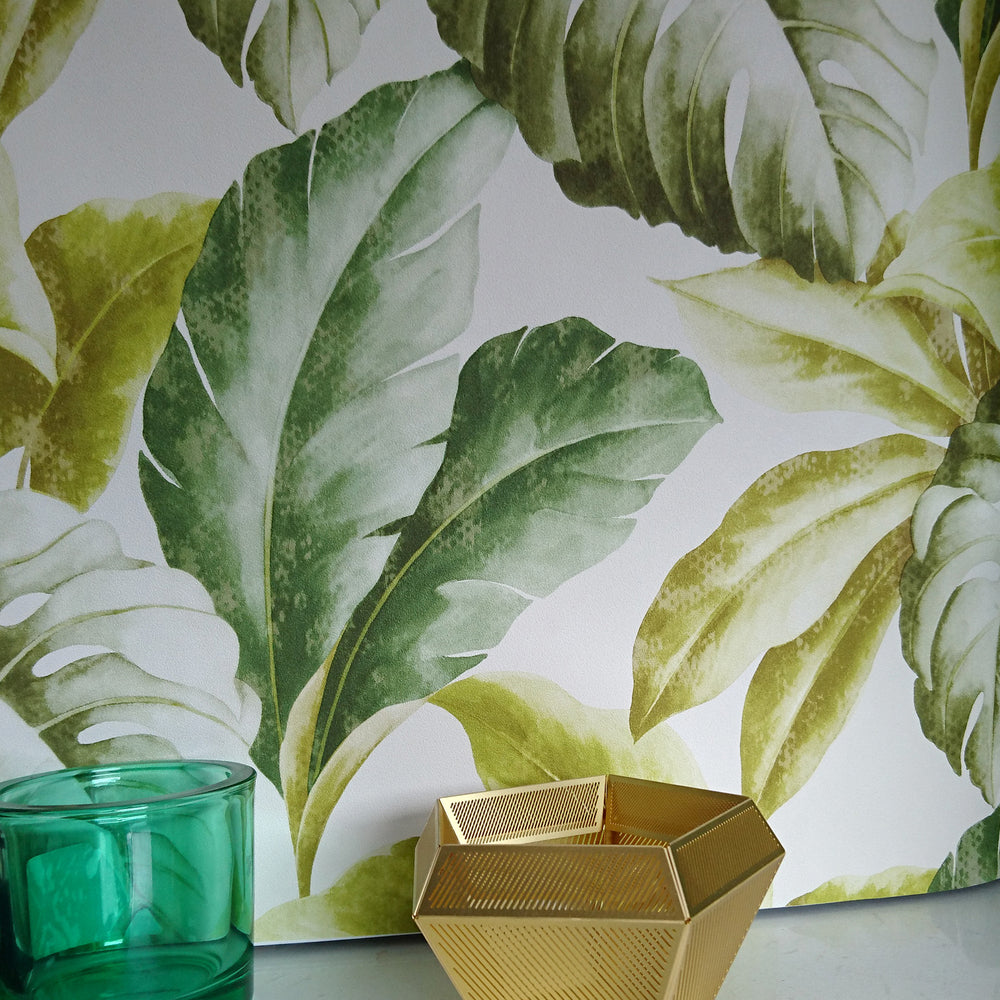 Banana Leaf' Tree Design Wallpaper | Natural Green White Tones